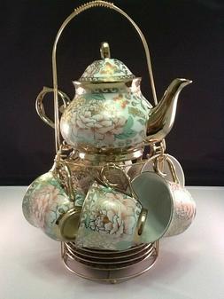 Porcelain Tea Coffee Set Pot 2 oz Cup Saucer Rack Quality De