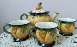 Pumpkin shaped Teapot with Four Matching Teacups