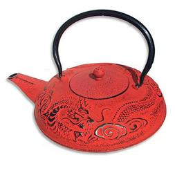 red japanese style cast iron teapot teacup