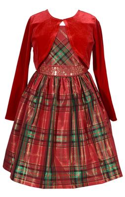BONNIE JEAN RED PLAID HOLIDAY DRESS WITH CARDIGAN
