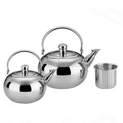 Stainless Steel Teapot Silver Coffee Strainer Kettle Removab