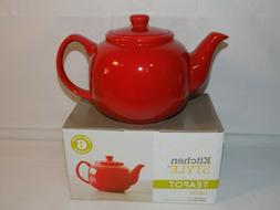 Kitchen Style Stoneware Teapot 6 Cups Red