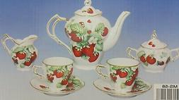 STRAWBERRY PORCELAIN TEA SET TEAPOT SUGAR BOWL CREAMER 2 TEA