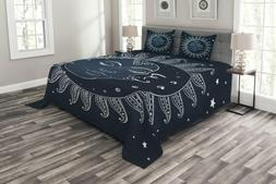 Lunarable Sun and Moon Bedspread Set Queen Size, Ancient Cel