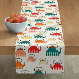Table Runner Teapots Kitchen Retro Modern Pattern Food Cute