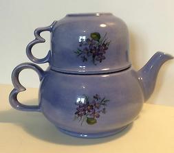 Tea Pot w/ Cup Kitchen Decoration Dining Blue Porcelain Teap