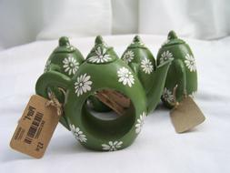 "Pier 1 ""Teapot"" Green Napkin Rings Kitchen Dining Home Decor"