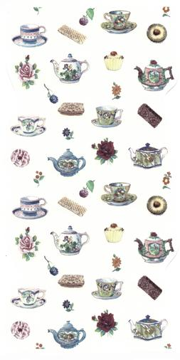 Teapot Tea Cup Flower Bits Select-A-Size Waterslide Ceramic
