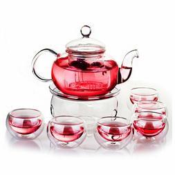 Teaset Glass Filtering Tea Maker Teapot with a Warmer and Cu