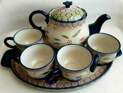 Temp-tations by Tara 7 Piece Tea Set Tray / 1.5 Qt / Teapot