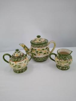 Temp-tations By Tara  Tea Pot Sugar & Creamer Set