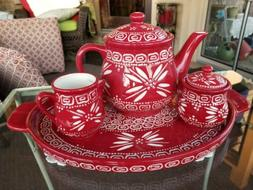**Temp-Tations** Red & White 6-Piece Tea Set Teapot Tray Sug