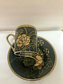 Turkish Arabic Coffee  set  cup and saucer  Black /gold Porc