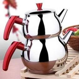 Turkish Stainless Steel Tea Pot Set, Samovar Style Self-Stra