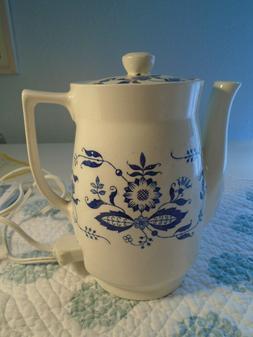 Vintage Porcelain Electric Teapot Water Heater/ Blue Onion