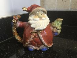 Vintage Santa 4 Cup Pottery Teapot