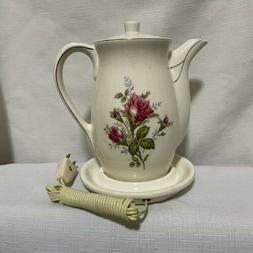 Vintage Unique Japan Electric Ceramic Tea Kettle Floral Teap