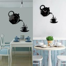 Wall Clock Coffee Cup Shape Mirror Effect Kitchen Decorative
