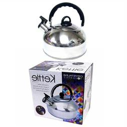 Zanzer 2.5 Liter Whistling Tea Kettle - Modern Stainless Ste